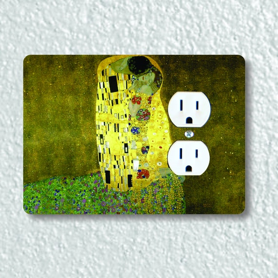 Precision Laser Cut Duplex And Grounded Outlet Plate Covers - Klimt The Kiss Painting - Home Decor - Wallplates
