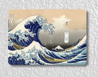 Kanagawa Great Wave Hokusai Painting Precision Laser Cut Toggle and Decora Rocker Light Switch Wall Plate Covers