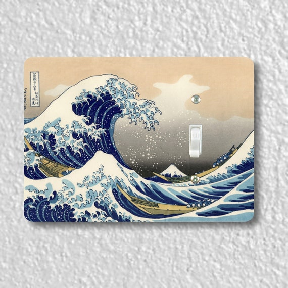 Precision Laser Cut Toggle And Decora Rocker Light Switch Plate Covers - Kanagawa Great Wave Hokusai Painting - Home Decor - Wallplates