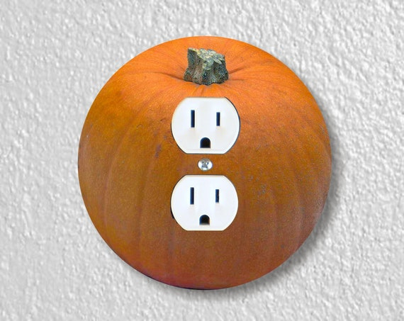 Pumpkin Precision Laser Cut Duplex and Grounded Outlet Round Wall Plate Covers