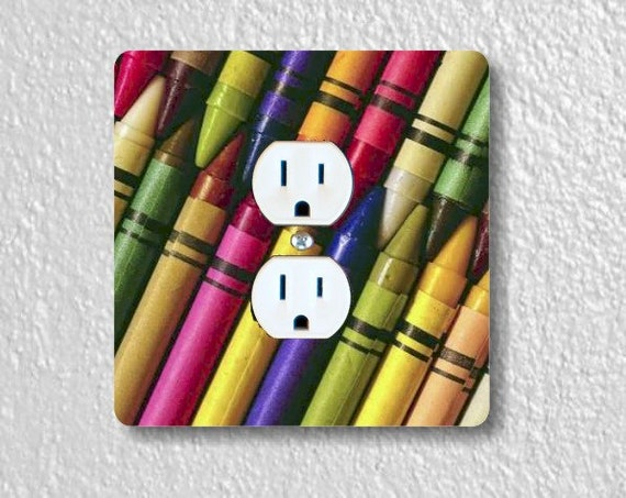 Colored Crayons Square Duplex Outlet Plate Cover