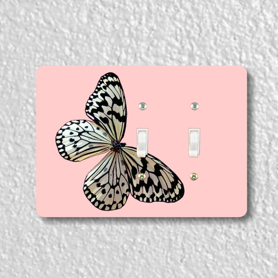 White Nymph Butterfly Pink Double Toggle Light Switch Plate Cover