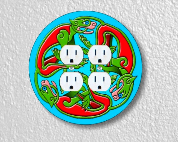 Celtic Dragon Round Double Duplex Outlet Plate Cover