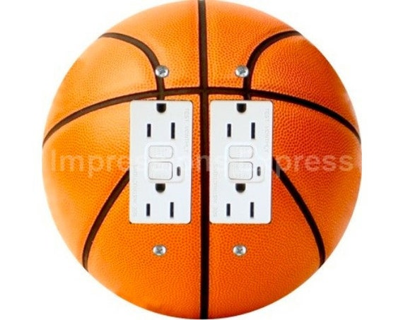 Orange Basketball Double Grounded GFI Outlet Plate Cover