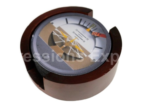 Attitude Indicator Aviation Round Coaster Set of 5 with Wood Holder