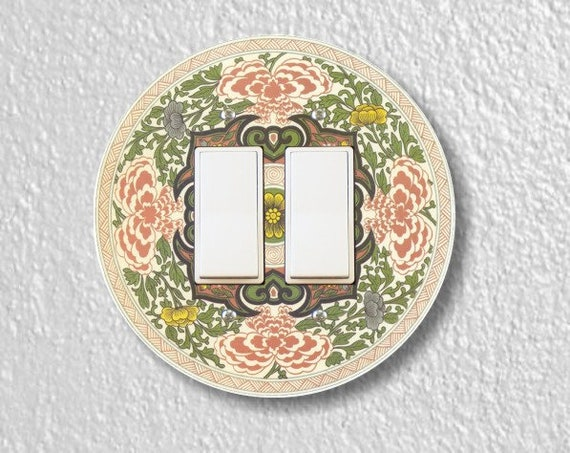 Chinese Ornament Round Decora Double Rocker Light Switch Plate Cover