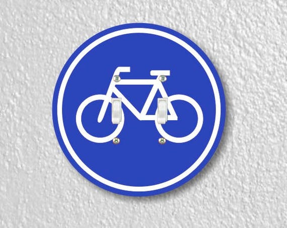 Bicycle Sign Round Double Toggle Switch Plate Cover
