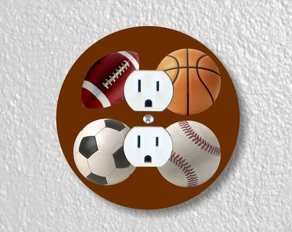 Sport Ball Precision Laser Cut Duplex and Grounded Outlet Round Wall Plate Covers