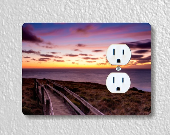 Ocean Sunrise Precision Laser Cut Duplex and Grounded Outlet Wall Plate Covers