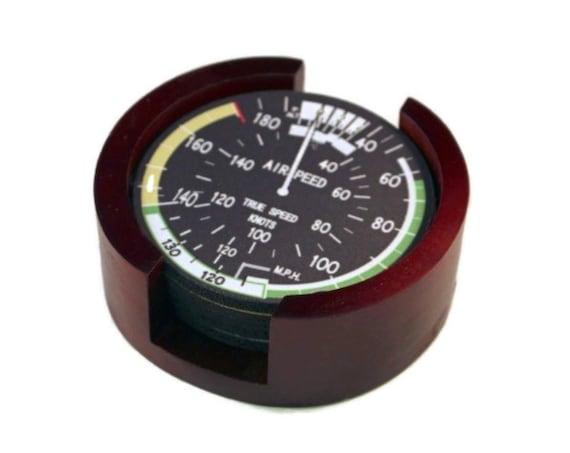 Airspeed Indicator Aviation Round Coaster Set of 5 with Wood Holder