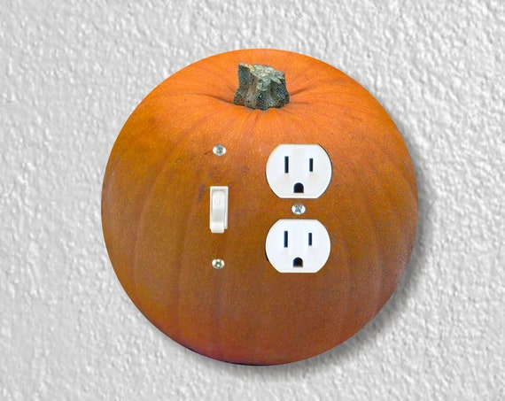 Pumpkin Precision Laser Cut Round Toggle Light Switch and Duplex Outlet Double Wall Plate Cover