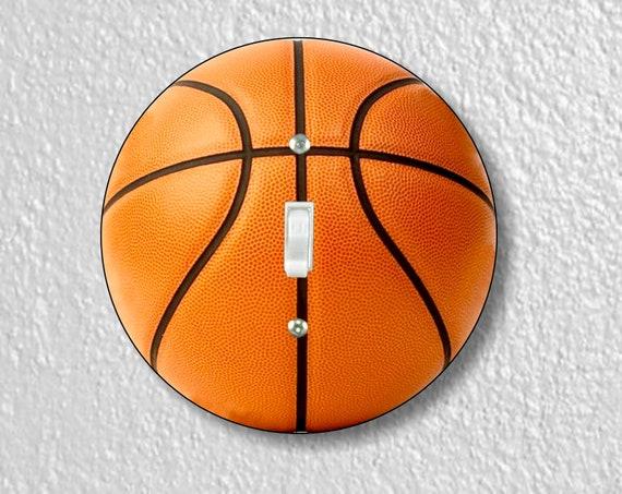 Burnt Orange Basketball Round Single Toggle Light Switch Plate Cover