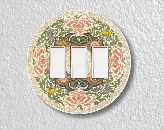 Chinese Ornament Round Triple Decora Rocker Light Switch Plate Cover