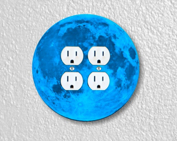 Blue Moon Round Double Duplex Outlet Plate Cover