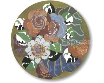 Floral Art Deco Art Nouveau Round Mousepad