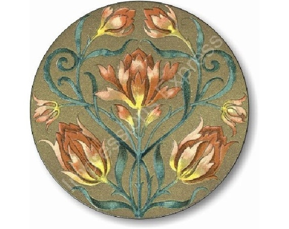 Victorian Floral Round Mousepad