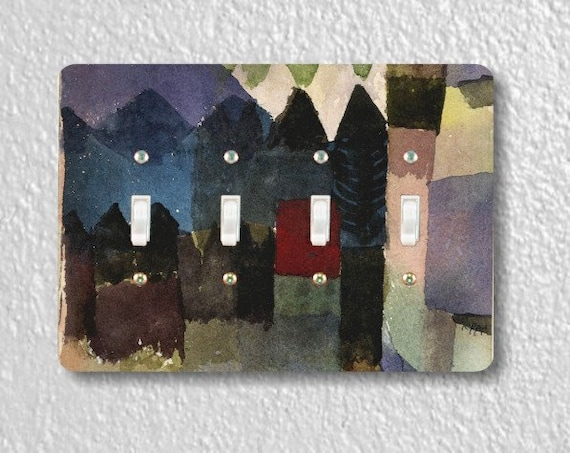Föhn In Marc's Garden Paul Klee Painting Quadruple Toggle Light Switch Plate Cover