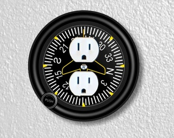 Direction Heading Indicator Aviation Precision Laser Cut Duplex and Grounded Outlet Round Wall Plate Covers