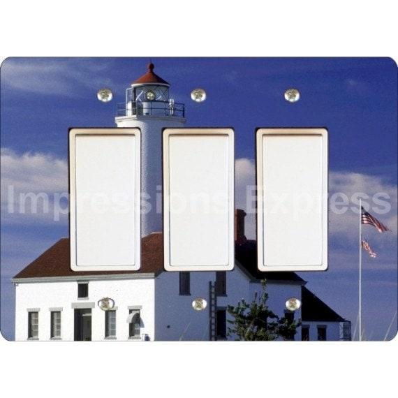 Lighthouse Nautical Triple Decora Rocker Light Switch Plate Cover