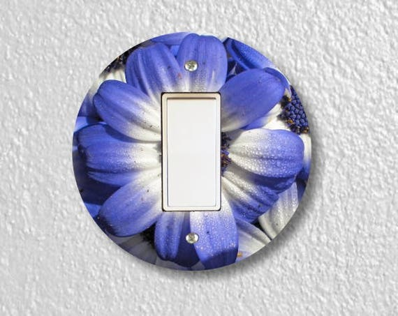 Blue Daisy Flower Round Decora Rocker Switch Plate Cover