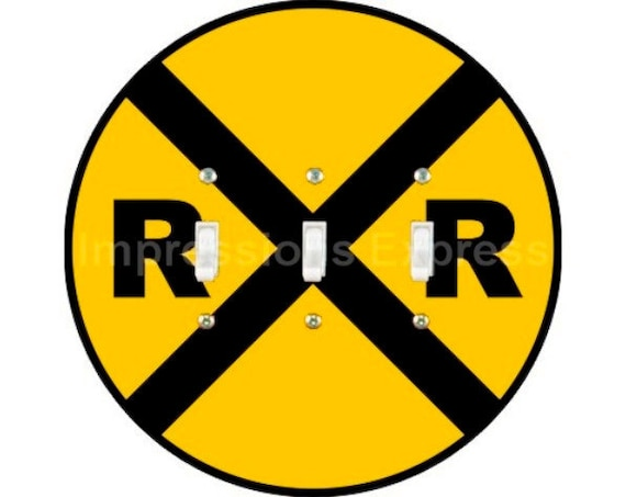 Railroad Crossing Sign Triple Toggle Light Switch Plate Cover
