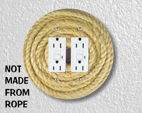 Nautical Sisal Rope Double Double Grounded GFI Outlet Plate Cover