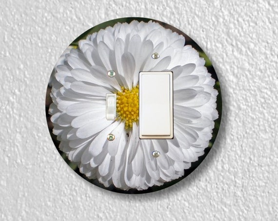 White Daisy Flower - Precision Laser Cut Round Toggle and Decora Rocker Light Switch Plate Cover - Home Decor - Wall Plate