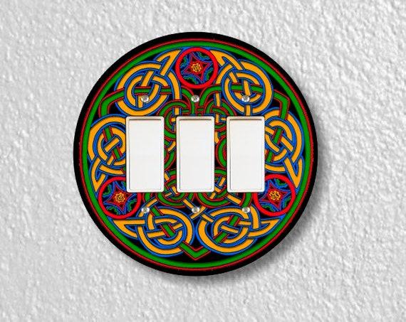 Celtic Knot Round Triple Decora Rocker Light Switch Plate Cover