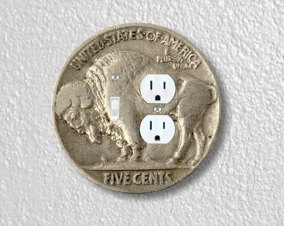 Buffalo Nickel Coin Round Toggle Switch and Duplex Outlet Double Plate Cover