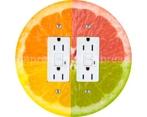 Funky Grapefruit Fruit Double GFI Outlet Plate Cover