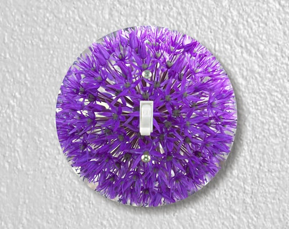 Purple Allium Flower Precision Laser Cut Toggle and Decora Rocker Round Light Switch Wall Plate Covers
