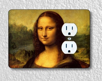 Leonardo Da Vinci Mona Lisa Painting Precision Laser Cut Duplex and Grounded Outlet Wall Plate Covers