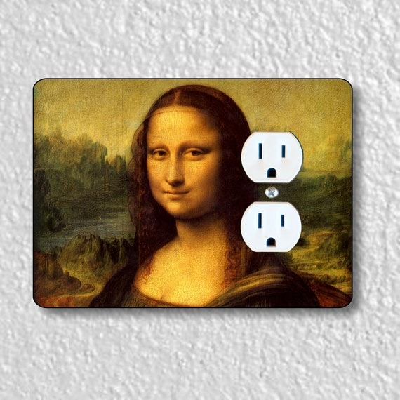 Precision Laser Cut Duplex And Grounded Outlet Plate Covers - Leonardo Da Vinci Mona Lisa Painting - Home Decor - Wall Decor - Wallplates
