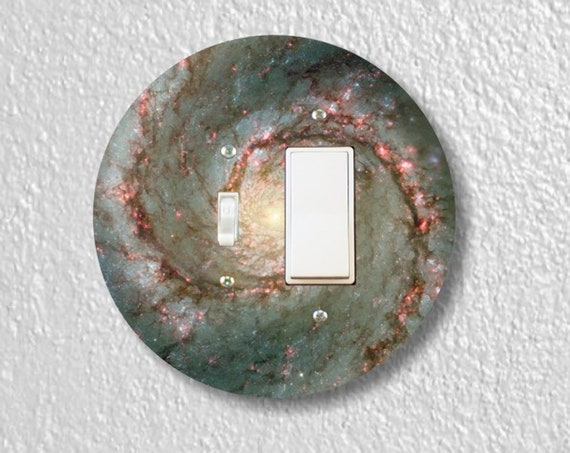 Precision Laser Cut Round Toggle and Decora Rocker Light Switch Plate Cover - Whirlpool Galaxy Space - Home Decor - Wallplates