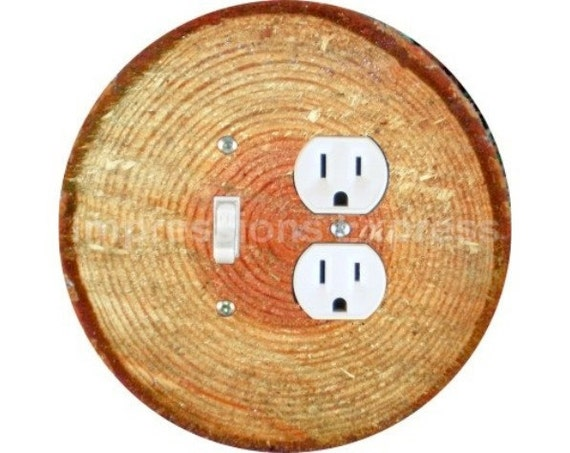 Tree Log Toggle Switch and Duplex Outlet Double Plate Cover