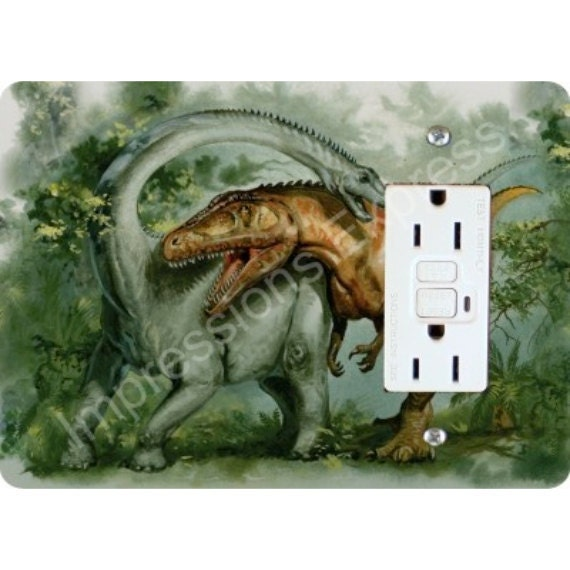 Rebbachisaurus and Giganotosaurus Dinosaur GFI Grounded Outlet Plate Cover