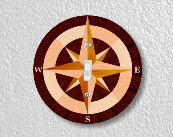 Nautical Compass Precision Laser Cut Toggle and Decora Rocker Round Light Switch Wall Plate Covers
