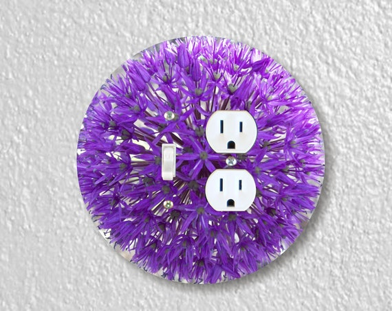 Purple Allium Flower Precision Laser Cut Round Toggle Light Switch and Duplex Outlet Double Wall Plate Cover