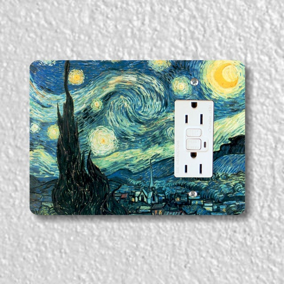 Starry Night Van Gogh Painting GFI Grounded Outlet Plate Cover