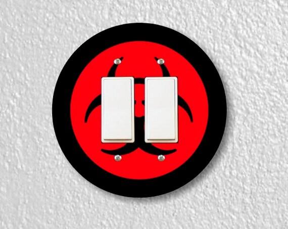 Biohazard Sign Round Double Decora Rocker Switch Plate Cover