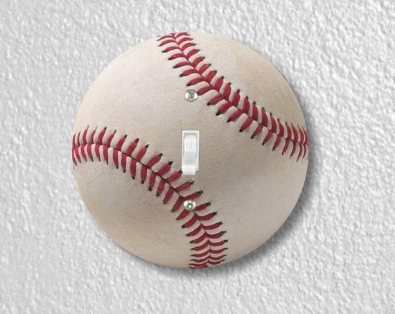 White Baseball Round Single Toggle Light Switch Plate Cover