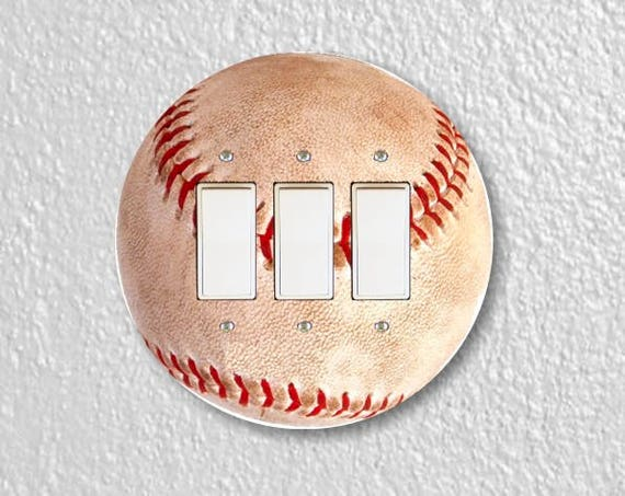 Baseball Ball Sport Round Triple Decora Rocker Switch Plate Cover