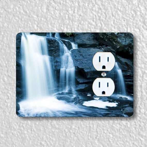 Waterfall Precision Laser Cut Duplex and Grounded Outlet Wall Plate Covers
