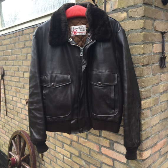 Vintage brown leather bomber flight pilots Jacket