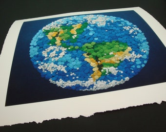 Dotted Planet Earth - Small 8X10 Giclee Printed with Archival Ink on Watercolor Paper - Etsy & NASA Contest Entry DDOTS