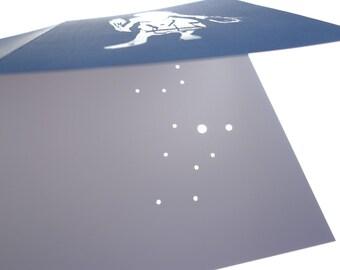 VIRGO, the Virgin August September Birthday Shadow Zodiac Constellations Greek Illustrations Hand Embossed & Hammered Greeting Art Card