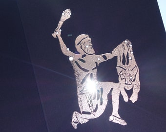 ORION, the HUNTER Birthday Shadow Zodiac Constellations Greek Illustrations Hand Embossed & Hammered Greeting Art Card