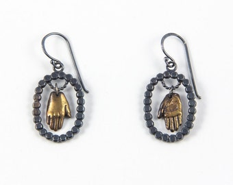 Handmade Bronze and Silver Portrait Earrings