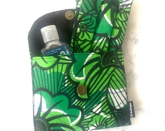 Green Floral Pouch and Mask Set