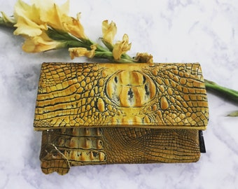 Yellow leather Fold Over Clutch Bag, Yellow Clutch, Fall Trend Clutch Bag